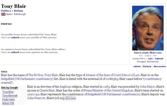 Tinfinger Profile of Tony Blair