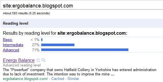 Google Reading Level Energy Balance Blog